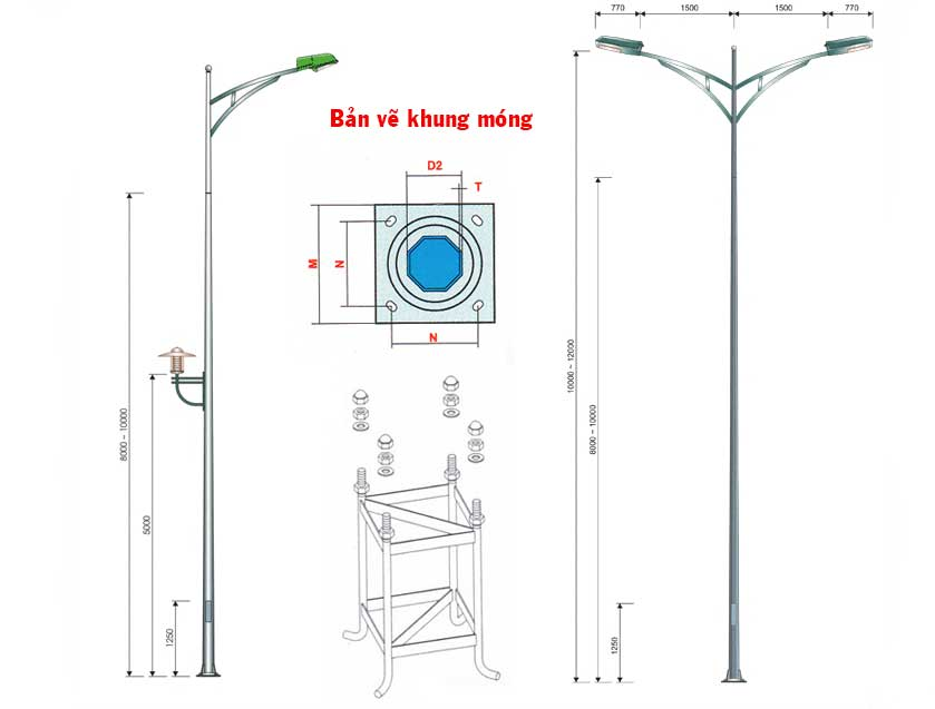 Chi tiết thiết kế bản vẽ cột đèn chiếu sáng